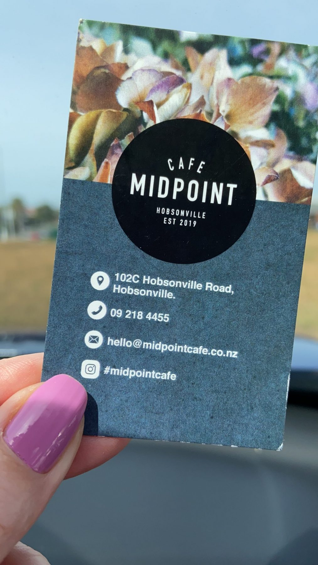 Cafe Midpoint Hobsonville business card