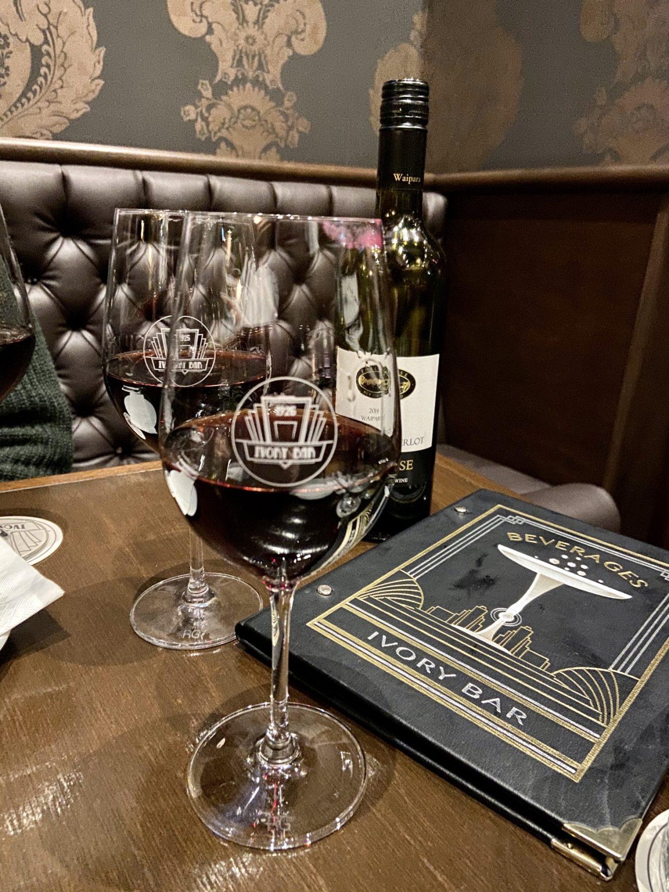 Ivory Bar Rangiora Wine Glasses Drinks Menu