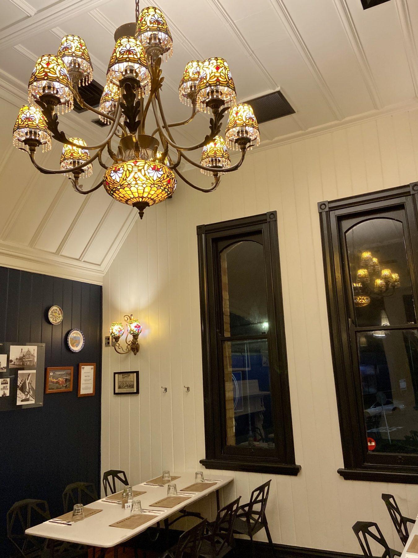 Chandelier at Pane E Vino Italian Restaurant Ponsonby