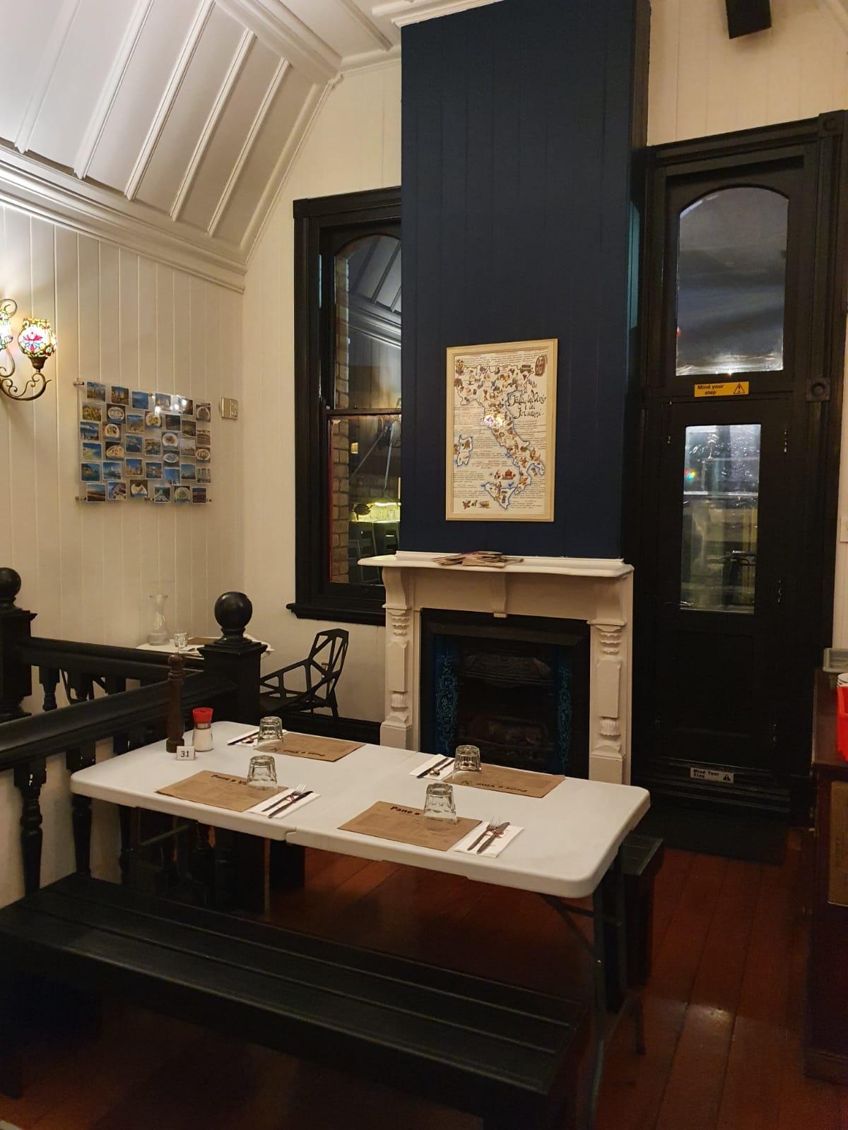 Fireplace at Pane E Vino Italian Restaurant Ponsonby
