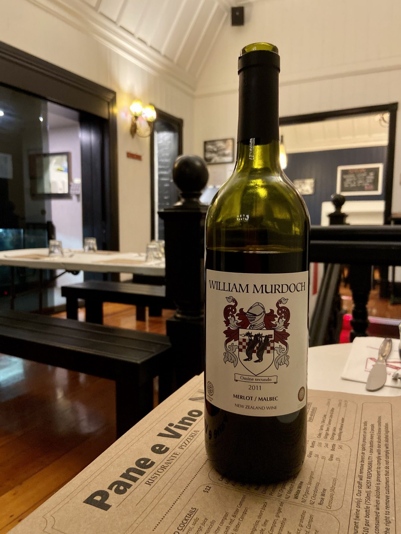 William Murdoch Wine at Pane E Vino Italian Restaurant Ponsonby