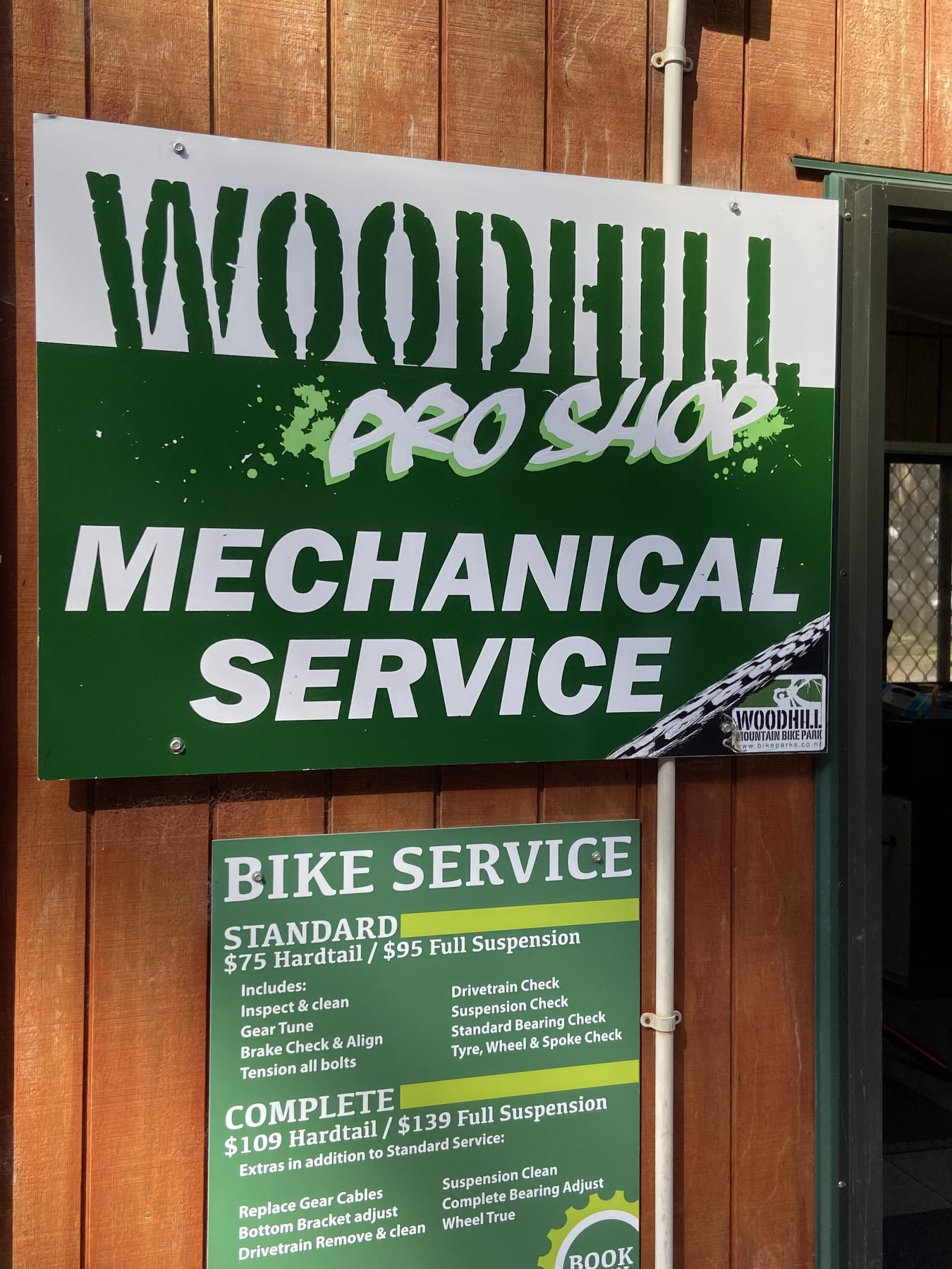 Woodhill Forest Park Mountain Bike Track Pro Shop Sign