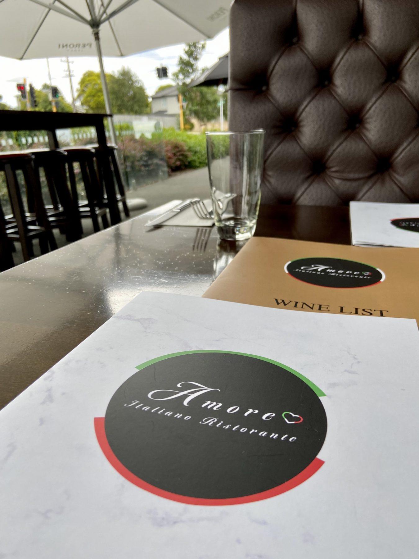 Amore Hobsonville Italian Restaurant Menu Cover