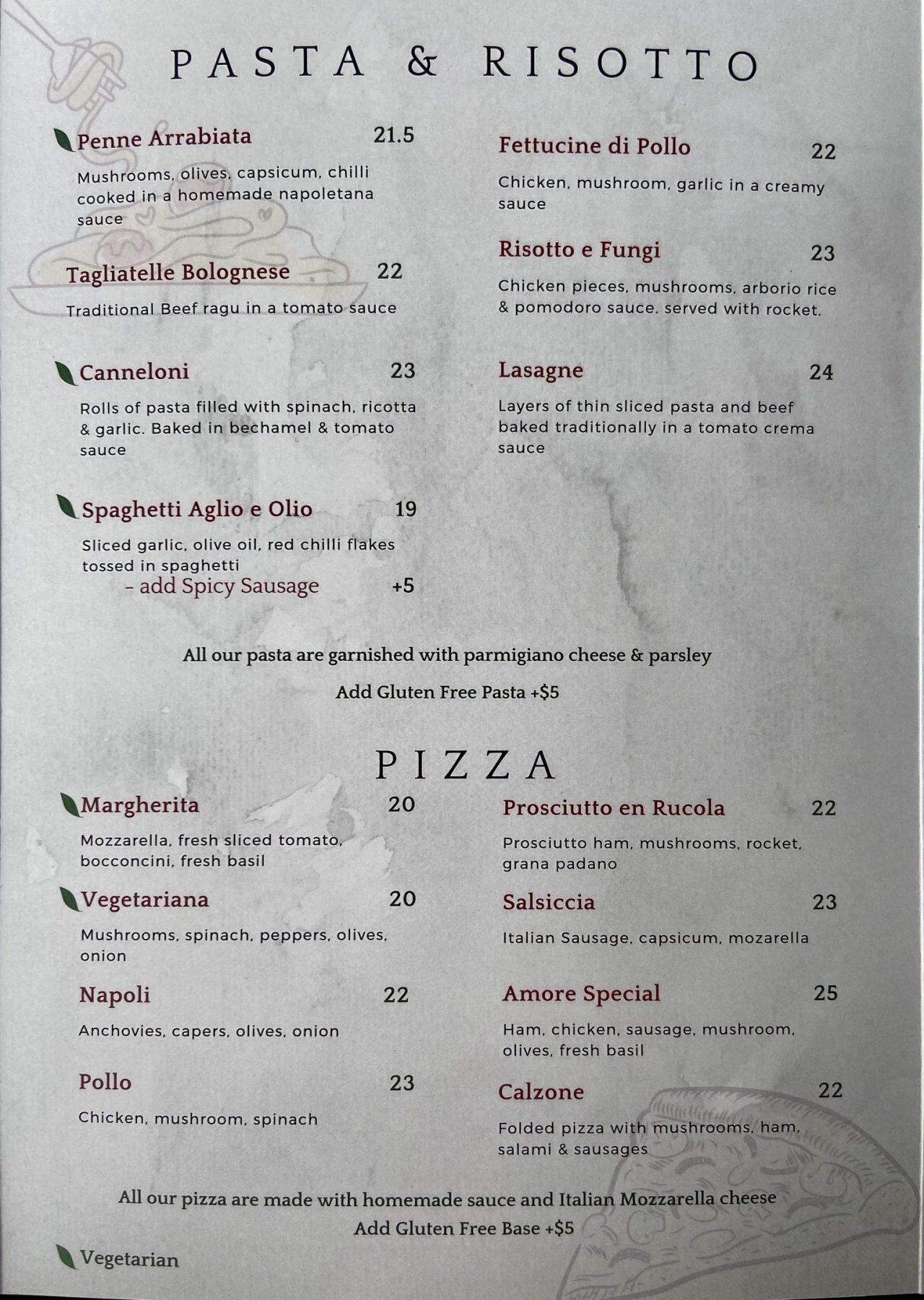Amore Italian Restaurant Hobsonville Menu