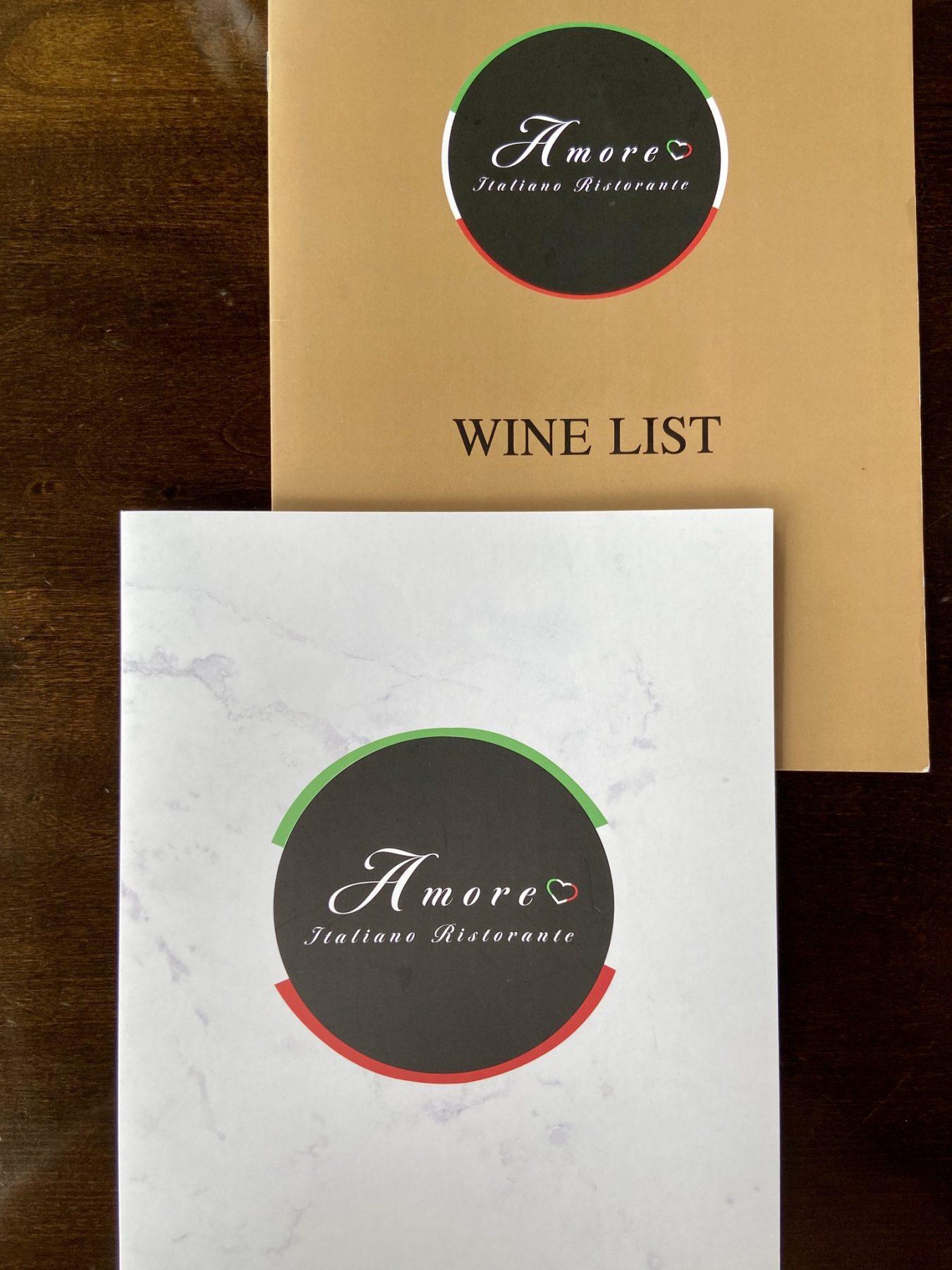 Amore Restaurant Menu and Wine List